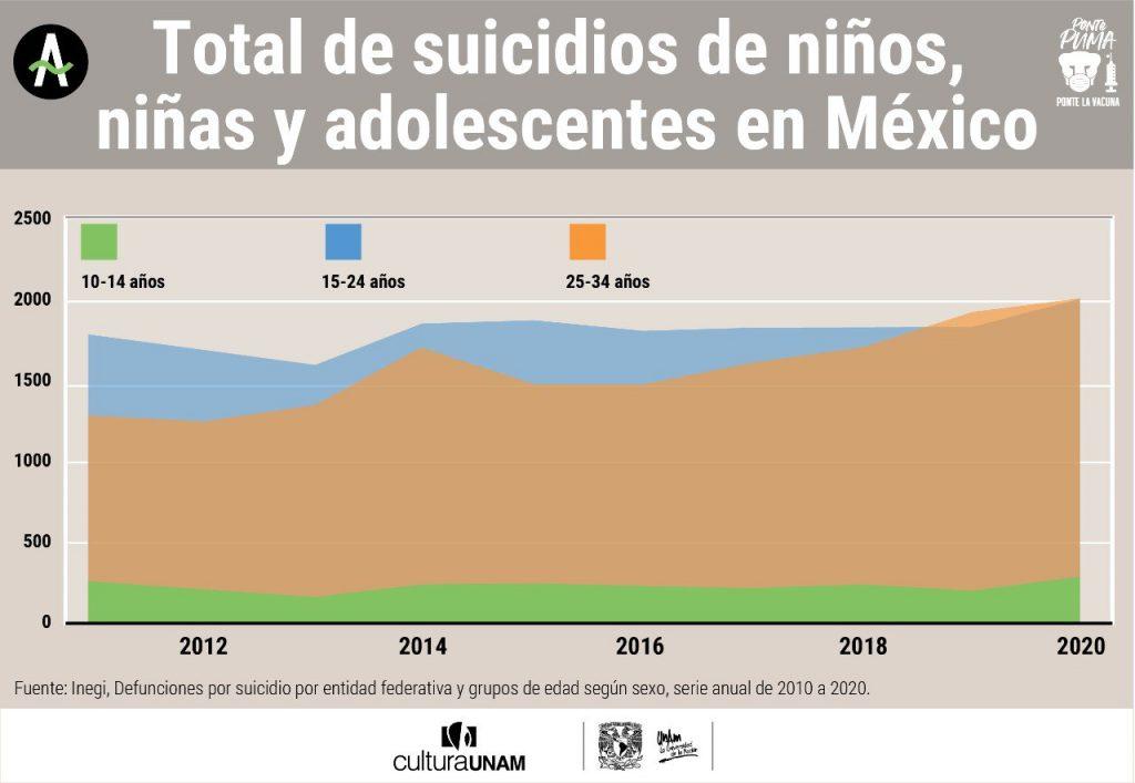 Total de suicidios de niños, niñas y jóvenes adultos en México